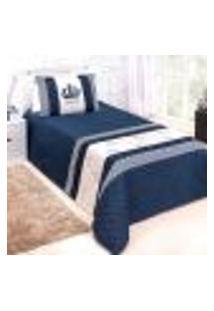 Kit Cobre Leito Infantil Menino Azul Marinho Príncipe Solteiro 3 Peças 2,50M X 1,80M Com Porta Travesseiro