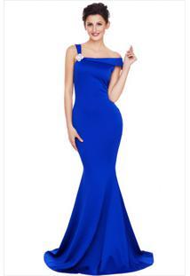 Vestido Longo Elegante Ombro Único - Azul M