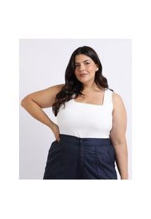 Regata Feminina Mindset Plus Size Decote Quadrado Alças Largas Branca