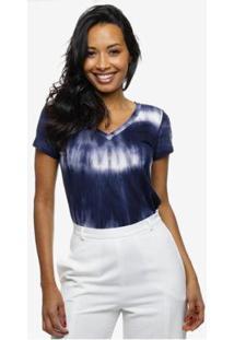 Camiseta Tie Dye Sob Manga Curta Feminina - Feminino-Azul Escuro