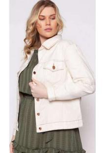 Jaqueta Almaria Plus Size Izzat Agueda Jeans Offwhite Branco