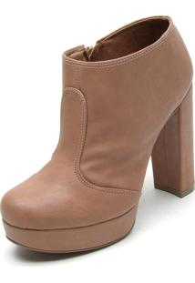 Ankle Boot Bebecê Recortes Caramelo
