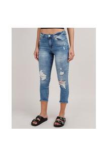 Calça Jeans Feminina Skinny Destroyed Cintura Média Azul Médio