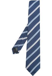 Cerruti 1881 Gravata De Seda Listrada Assimétrica - Azul