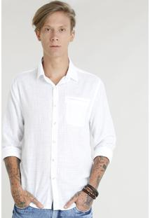 Camisa Masculina Com Bolso Manga Longa Branca