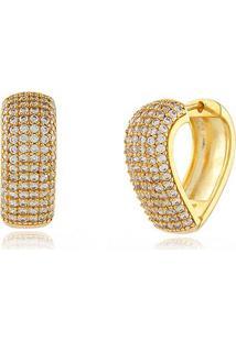 Argola Modelo Coração Cravejada Com Zircônias Cristal Banhado Em Ouro 18K Argola Modelo Coração Cravejada Com Zircônias Cristal Banhado Em Ouro 18K