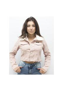 Jaqueta Anjuss Cropped Jeans Rosa