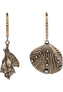 Alexander Mcqueen Metallic Swarovski Embellished Shell Hoop Earrings - Metálico