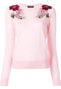 ... Dolce   Gabbana Suéter De Cashmere Com Patch De Rosa - Pink   Purple 70f6978733