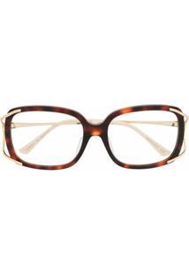 Gucci Eyewear Óculos De Sol Quadrado Interlocking Gg - Marrom