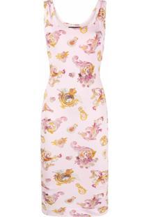 Versace Jeans Couture Vestido Midi Com Logo Bordado - Rosa