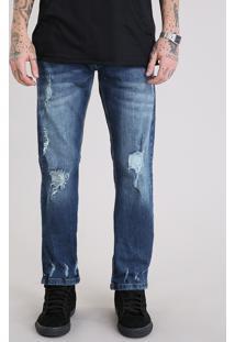 Calça Jeans Masculina Reta Destroyed Azul Escuro