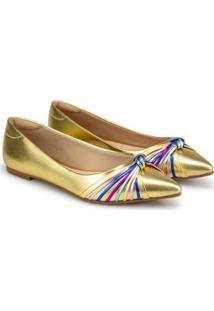 Sapatilha Napa Floater Metalizado Sapatinho De Luxo - Feminino-Ouro