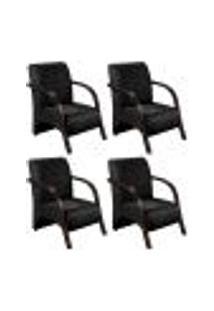 Conjunto De 4 Poltronas Sevilha Decorativa Braço De Madeira Cadeira Para Recepção, Sala Estar Tv Espera, Escritório, Vários Ambientes - Suede Preto