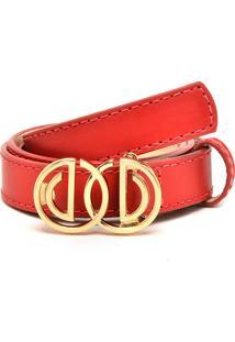 Cinto Couro Dumond Metal Logo Vermelho