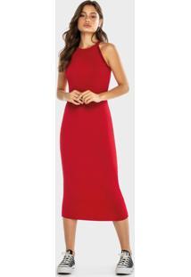 Vestido Vermelho Midi Canelado