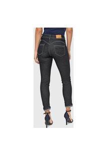 Calça Jeans Sawary Skinny Cropped Pespontos Azul-Marinho