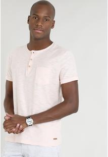 Camiseta Masculina Com Bolso E Botões Manga Curta Gola Careca Salmão