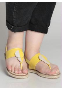 Sandália Rasteira Espadrille Moleca Amarelo Amarelo