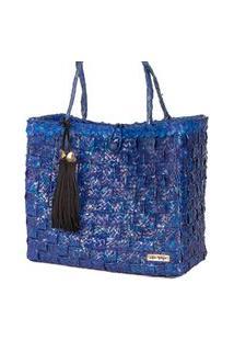 Bolsa Tote-Shopper Palha Feminina Pingente Franjas Piscina Azul