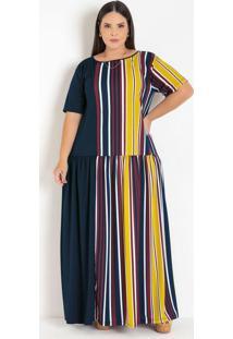 Vestido Listrado E Azul Com Recorte Plus Size