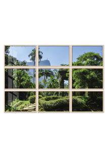 Quadro 90X120Cm Painel Jardim Botânico Rio De Janeiro Moldura Natural Com Vidro