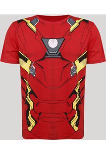Camiseta Masculina Homem De Ferro Manga Curta Vermelha