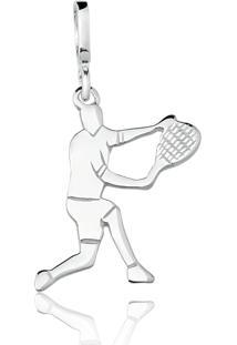 Pingente Tenista Prata Lisa