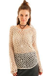 Blusa Aha Crochet Rendado Bege Claro