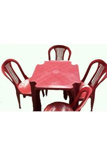 Conjunto Mesa 4 Cadeiras Bistrô Vinho Antares