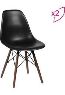 Jogo De Cadeiras Eames Dkr- Preto & Madeira Escura- Or Design