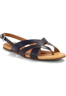 Sandalia Rasteira Tiras Sobrepostas Azul