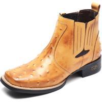 6d1f5cc0f80 Bota Country Masculina Bico Quadrado Top Franca Shoes Avestruz Banana