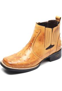 Bota Country Masculina Bico Quadrado Top Franca Shoes Avestruz Banana
