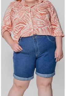 Bermuda Jeans Lycra Kauê Plus Size Barra Dobrada Plus Size Jeans Blue Feminina - Feminino-Jeans