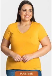 Blusa Viscotorcion Feminina Plus Amarelo