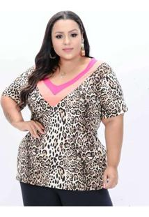 Blusa Almaria Plus Size Annes Animal Print Multico