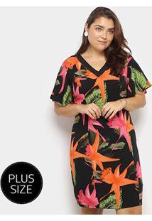 Vestido Curto Heli Plus Size Estampado Manga Curta - Feminino-Preto