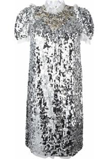 Dolce & Gabbana Vestido Com Paetês - Cinza