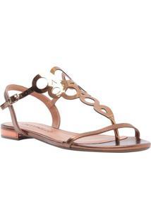 Sandália Rasteira Metalizada - Bronzececconello