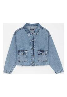 Jaqueta Oversized Jeans Lisa Com Bolsos Frontais | Marfinno | Azul | P