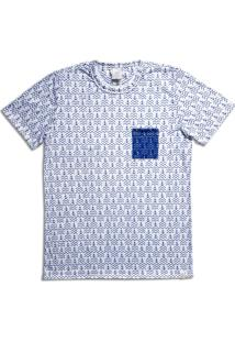 Camiseta Homem Ao Mar Full Print Âncora Branca