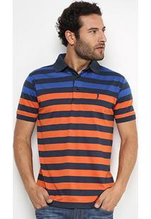 Camisa Polo Aleatory Malha Fio Tinto Masculina - Masculino-Laranja+Marinho