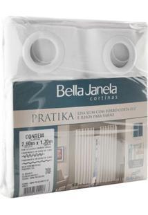 Cortina Bella Janela Pratika Lisa 2,60X1,70M Branca