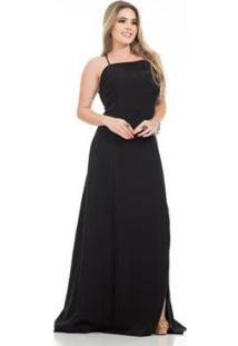 Vestido Clara Arruda Longo Fenda Lateral 50528 Feminino - Feminino-Preto