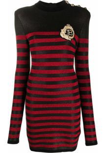 Balmain Vestido De Tricô Com Patch De Logo - Preto