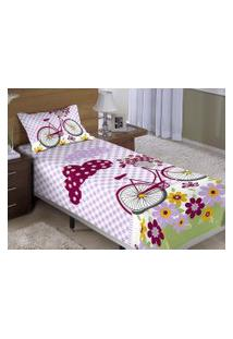 Colcha/Cobre-Leito Cama Solteiro Bicicleta Com Flores Menina Com 2 Peças - Aquarela,