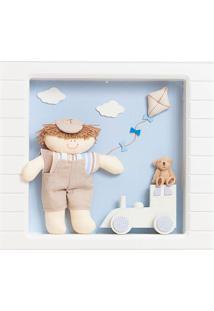 Nicho 1 Led Menino Trenzinho Quarto Bebê Infantil Menino Potinho De Mel Azul