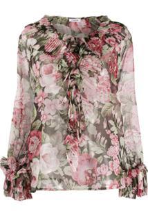 P.A.R.O.S.H. Blusa Com Estampa Floral E Babados - Rosa