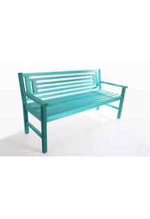 Banco Para Jardim 3 Lugares Echoes - Banco De Madeira Com Encosto - Cor Azul - 167X66X85 Cm